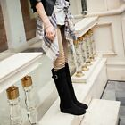 Faux Suede Trendy Buckle Pull On Hidden Wedge Knee High Riding Boots UK2.5-8.5