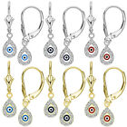 Evil Eye Turkish Greek Hamsa Dangling Drop Earrings Leverback 14k Y or W Gold