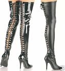 """Womens Thigh High Heeled Tight Boots w/ Lace Up Back 5"""""""