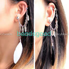Black/White Feather Leaf Tassels Ear Cuff Cartilage Ear Stud Clip Earring Wrap
