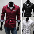 Fashion Men's Slim Luxury Stylish Lined with Grid Blouse Casual T-shirt Blouse