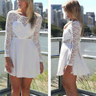 New Women Long Lace Sleeve Hollow Love Heart Slim Party Evening Cocktail Dress