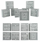 Small Wooden Grey Block Sign/Plaque 'Home,Pet,Friends,Love,Heart,Family' Gift