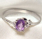 Genuine Faceted Oval Amethyst .925 Sterling Silver Ring -- AM891