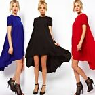 Women Cocktail Party Casual Chiffon High and Low Asymmetric Long Shift Dress