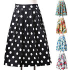 7 Style 5 Size Vintage High Waist Pleated Midi Skirt Ball Gown Swing Retro Dress