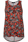 Yoursclothing Womens Plus Size Tropical Floral Print Jersey Vest With Dipped Hem