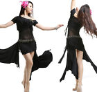 New Mesh Blouse and Short Skirt 2 pcs set Belly Dance Costumes 5 colors