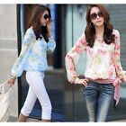 Casual Sexy Korean Style Women Floral Print Chiffon Long Sleeve Shirt Blouse Top