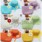 Tote Straw Baby Girl Child Sun Hat Summer Flower Cap Handbag Set Candy Simple O
