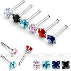 1pc Surgical Steel Square Cubic Zirconia CZ Gem Nose Bone Stud Ring Piercing 20G