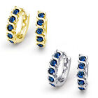 14K Solid White Or Yellow Gold Round Cut Blue Sapphire Wave Huggie Drop Earrings