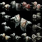 men Stainless Steel Wedding party Silver mahogany Enamel Shirt Crystal Cufflinks