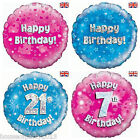 "Pink / Blue Holographic Foil Birthday 18"" Balloons ages 1 - 80 Girls Boys Party"