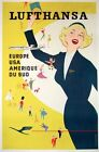 Vintage Lufthansa Airline Poster  A3/A2/A1 Print