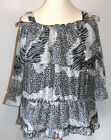 Plus Size 16 Blouse Top Sexy Animal Print Chiffon On or Off Shoulders Style