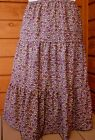 Ladies & Plus long full tiered purple cotton floral skirt S M L XL 1X 2X 3X