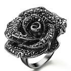 Vintage Fashion Jewelry Silver Plated Rose Flower Crystal Engagement Ring R48