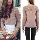 Vogue Women's Casual Long Sleeve Shirt Lace Crochet Embroidery Slim Tops Blouse