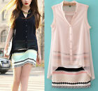 Women's New Casual Sleeveless Chiffon Button Down Shirt Summer Dress