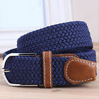 POP Men's Woven Stretch Braided Elastic Leather Buckle Belt Waistband MultiColor