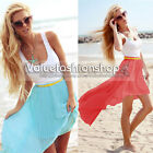 Women Belted Chiffon Elastic Waist Asymmetric Pleat High Low Maxi Long Skirt 573