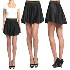 Themogan Ponte Knit High Waist Pleated Skater Skirt Flared Circle Mini Short