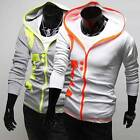 Men's Printed Slim Casual Hooded Sweater Polyester Material Coat USLO