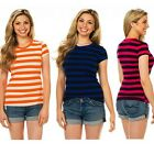 8-Pack: Ladies' Short-Sleeved Round Neck Striped T-Shirts