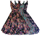 Womens 40's 50's Vintage Autumn Floral Collection Party Tea Dress 10-20 New