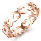 IP Rose Gold Hollow Love & Heart Stainless Steel Girlfriends Fashion Gift Ring