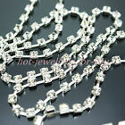 CRYSTAL DIAMANTE RHINESTONES CUP SILVER CHAIN SEWING TRIM 3mm 4mm 5mm FREE POST