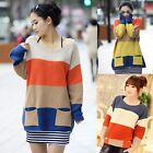 Women Knitted Color Block Stripe Loose Sweater Pullover Jumper Tunic Outerwear