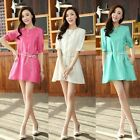 Women Casual Crew Neck Half Sleeve Blouse A-Line Tunic Dress with Waist Rope