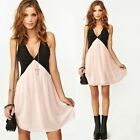 Women Chiffon Deep V Neck Color Block Sleeveless Mini Party Cocktail Dress Pink