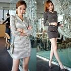 Office Lady Women Career Striped Double Breasted Long Sleeve Mini Sheath Dress
