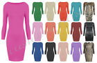 C35-LADIES LONG SLEEVE STRETCH BODYCON PLAIN SHORT MINI DRESS TOP-UK SIZE 8-22
