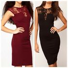 Women Party Clubwear Evening Floral Lace Insert Slim Bodycon Cocktail Dress