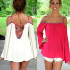 Women Sexy White Chiffon Bandege Backless Strapless Bodycon Long T Shirt Blouse