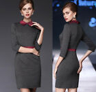 Fashion Women Long Sleeve Colorblock Lapel  Bodycon evening Party Pencil Dress