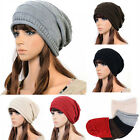 Unisex Simple Cosie Winter Plicate Baggy Beanie Knitted Ski Slouch Cap Hat UK EW