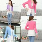 Free Shipping Womens Color block Patched Suit Trendy Blazers Outwear Coat FUS