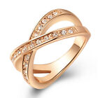 New Rose Gold Crossover Ring with Cubic Zirconia Wedding Band Jewellery 0102-04