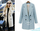 Hot Fashion Womens Double-breasted Woolen Jacket Parka Trench Solid Color Coat