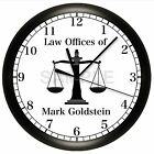 SCALES OF JUSTICE WALL CLOCK LAW OFFICES LAWYER ATTORNEY AT COURT JUDGE GIFT