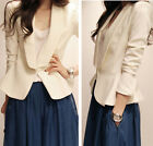 Fashion Womens Slim Suit Office Lady Turn Cuff Covered Button White Coat Blazer