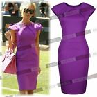 New Womens Ladies New Cele Style Purple Offices Business Bodycon Dresses D0056