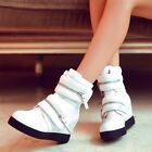 Womens Fashion Leather Zipped Velcro Hidden Wedge High Top Trainers Ankle Boots