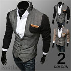 Autumn Korean Fashion Mens Slim Splice Cardigan Stand Collar Sweater Coat Jacket