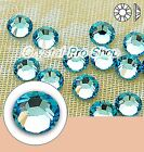 GENUINE Swarovski Aquamarine (202) Iron On ( Hotfix ) Glass Flatback Rhinestones